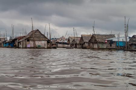 shantytown: View of floating shantytown in Belen neigbohood of Iquitos, Peru. Stock Photo