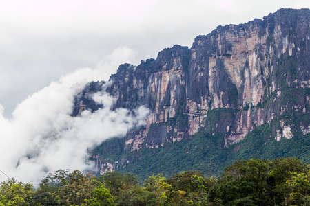 table mountain national park: Tepui (table mountain) Auyan in National Park Canaima, Venezuela Stock Photo