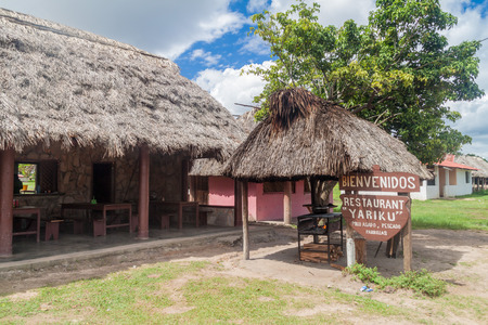 GRAN SABANA, VENEZUELA - AUGUST 13, 2015: Rural restaurant in an indigenous village in Gran Sabana region of Venezuela