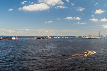 local supply: MANAUS, BRAZIL - JULY 27, 2015: Floating gas stations at Manaus port, Brazil