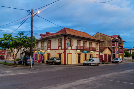 laurent: ST LAURENT DU MARONI, FRENCH GUIANA - AUGUST 4, 2015: Colonial buildings in St Laurent du Maroni, French Guiana.
