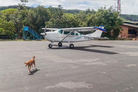 cessna: CANAIMA, VENEZUELA - AUGUST 16, 2015: Cessna airplane at the airport in Canaima village, Venezuela Editorial