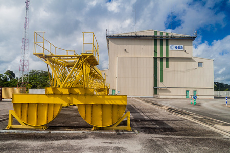 soyuz: KOUROU, FRENCH GUIANA - AUGUST 4, 2015: Horizontal assembly and processing facility at Soyuz Launch Complex at Centre Spatial Guyanais (Guiana Space Centre) in Kourou, French Guiana