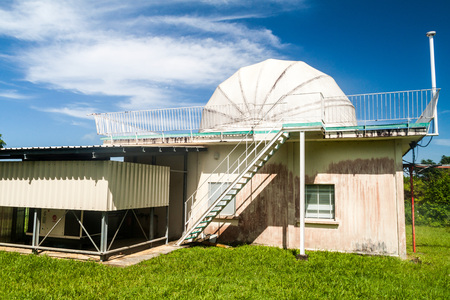 spaceport: Cinetelescope (optical and infrared tracking site for Kourou spaceport) at Ile Royale, one of the islands of Iles du Salut (Islands of Salvation) in French Guiana. Editorial