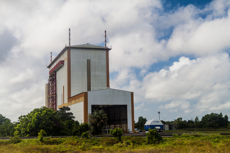 european integration: KOUROU, FRENCH GUIANA - AUGUST 4, 2015: Launcher integration building  for Ariane 5 space rocket at Centre Spatial Guyanais (Guiana Space Centre) in Kourou, French Guiana Editorial