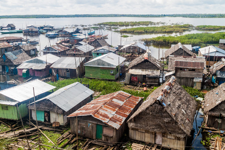 deprived: IQUITOS, PERU - JULY 20, 2015: Shantytown in Iquitos, Peru. Editorial