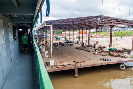 diamante: TABATINGA, BRAZIL - JUNE 22, 2015: Boat Diamante is anchored at the pier in Tabatinga, Brazil. Editorial