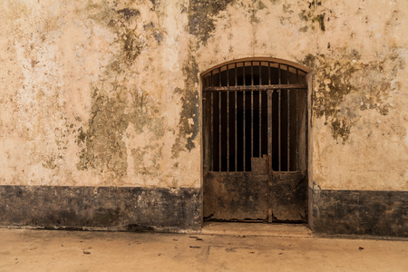 salut: Interior of a former prison at Ile Royale, one of the islands of Iles du Salut (Islands of Salvation) in French Guiana.