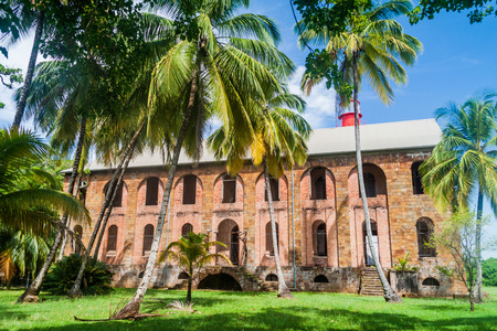 penal: Former penal colony at Ile Royale, one of the islands of Iles du Salut (Islands of Salvation) in French Guiana Stock Photo