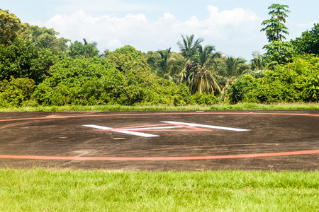 salut: Helipad at Ile Royale, one of the islands of Iles du Salut (Islands of Salvation) in French Guiana