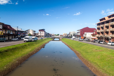 CAYENNE, FRENCH GUIANA - AUGUST 1, 2015: Canal Laussat in the center of Cayenne, capital of French Guiana.
