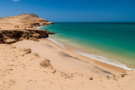 Coast of La Guajira peninsula in Colombia. Beach Playa del Pilon.
