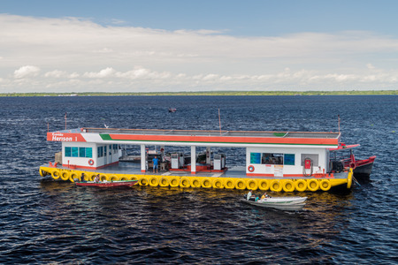 ponton: MANAUS, BRAZIL - JULY 27, 2015: Floating gas station  at Manaus port, Brazil