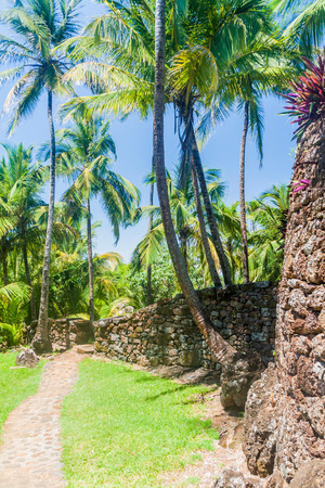 penal: Buildings of former penal colony at Ile Royale, one of the islands of Iles du Salut (Islands of Salvation) in French Guiana Stock Photo