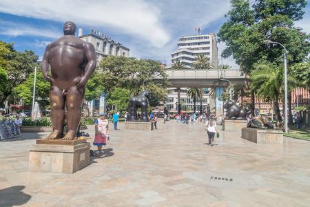 medellin: MEDELLIN, COLOMBIA - SEPTEMBER 1, 2015: Plazoleta de las Esculturas (Square of the Statues) in Medellin. Statues were designed by artist Fernando Botero.