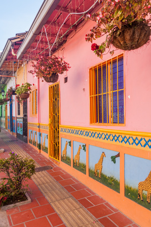 antioquia: Colorful decorated houses in Guatape village, Colombia Editorial