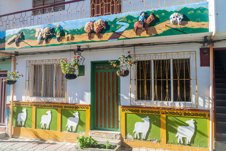 house donkey: Colorful decorated house in Guatape village, Colombia