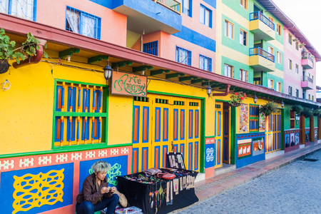 september 2: GUATAPE, COLOMBIA - SEPTEMBER 2, 2015: Colorful decorated houses in Guatape village, Colombia Editorial