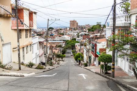 CALI, COLOMBIA - SEPTEMBER 9, 2015: Street in San Antonio neighborhood of Cali.