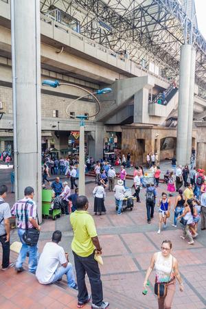 antioquia: MEDELLIN, COLOMBIA - SEPTEMBER 1, 2015: Elevated metro station Parque Berrio in Medellin.