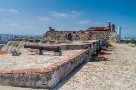 barajas: Cannon at Castillo de San Felipe de Barajas castle in Cartagena de Indias, Colombia. Stock Photo