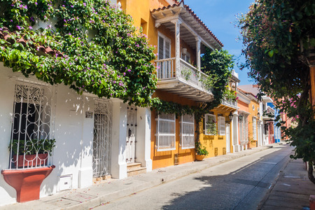 View of the street in center of Cartagena, Colombia. Editorial