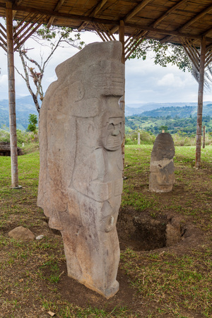 Ancient statues at Alto de Lavapatas site in archeological park in San Agustin, Colombia Stock Photo