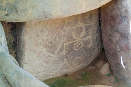 san agustin: Carvings in a tomb in Alto de las Guacas archeological site near San Agustin, Colombia