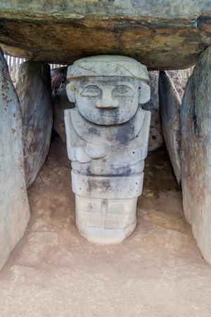 san agustin: Statues located at Alto de los Idolos archeological site near San Agustin, Colombia Stock Photo