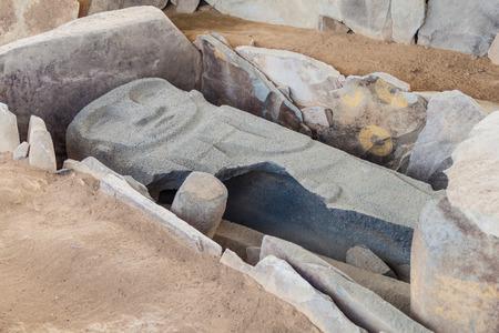 san agustin: Sarcofagus in a tomb located at Alto de los Idolos archeological site near San Agustin, Colombia
