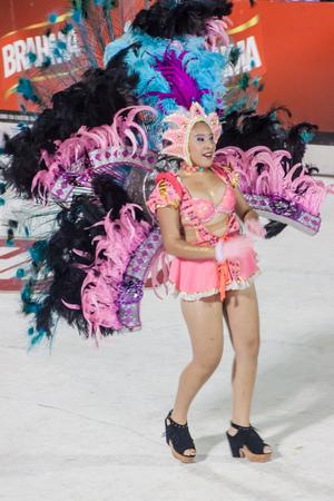 ENCARNACION, PARAGUAY - FEB 7, 2015: Participant of a traditional carnival in Encarnacion, Paraguay. Editorial