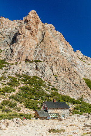 bariloche: REFUGIO FREY, ARGENTINA - MAR 17, 2015: View of a mountain hut Refugio Frey near Bariloche, Argentina Stock Photo