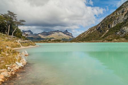 View of Laguna Esmeralda (Emerald lake) at Tierra del Fuego island, Argentina Stock Photo