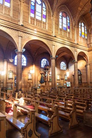 woodcraft: CASTRO, CHILE - MAR 22: Interior of San Francisco church in Castro, Chiloe island, Chile
