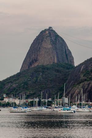 rio: Sugarloaf mountain behind Botafogo bay in Rio de Janeiro, Brazil Editorial