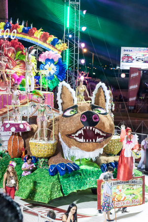 ENCARNACION, PARAGUAY - FEB 8, 2015: Participants of a traditional carnival in Encarnacion, Paraguay. Editorial