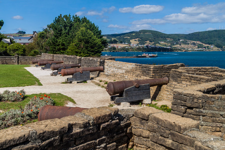 Cannons on a fortification of a fort Fuerte San Antonio in Ancud, Chiloe island, Chile Stock Photo