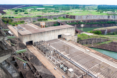water turbine: Detail of Itaipu dam on river Parana on the border of Brazil and Paraguay Stock Photo