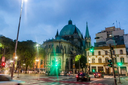 gothic revival: SAO PAULO, BRAZIL - FEBRUARY 2, 2015: Evening view of Catedral da Se cathedral in Sao Paulo, Brazil
