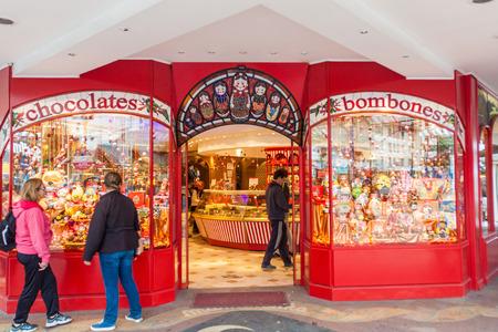 BARILOCHE, ARGENTINA - MARCH 16, 2015: Chocolade shop named Mamuschka in Bariloche, Argentina