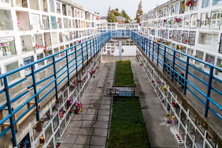 PUNTA ARENAS, CHILE - MARCH 3, 2015: Tombs and graves at a cemetery in Punta Arenas, Chile.