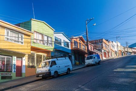 woodcraft: CASTRO, CHILE - MARCH 22, 2015: Steep street in Castro, Chiloe island, Chile