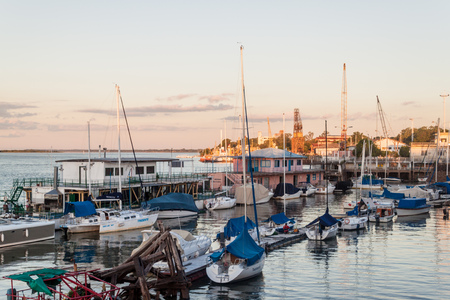 corrientes: CORRIENTES, ARGENTINA: FEB 11, 2015: Yachts in a port of Corrientes, Argentina Editorial