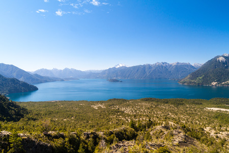 perez: Lago Todos los Santos (Lake of all the Saints) with Monte Tronador volcano in background, Chile Stock Photo
