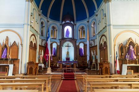 corazon: PUERTO VARAS, CHILE - MAR 25: Interior of Sagrado Corazon church in Puerto Varas, Chile