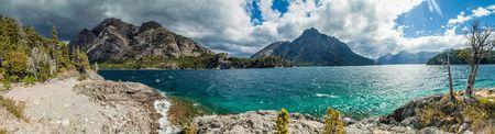 lake nahuel huapi: Panorama of Bahia Lopez bay in Nahuel Huapi lake near Bariloche, Argentina