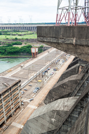 hydroelectricity: Detail of Itaipu dam on river Parana on the border of Brazil and Paraguay Stock Photo