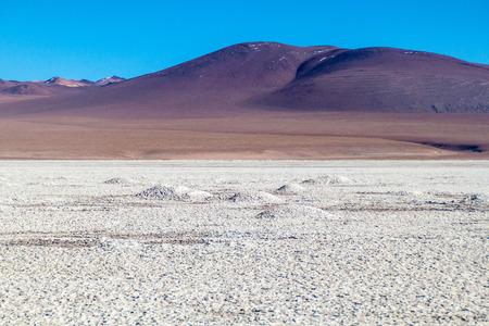 mined: Borax is being mined from Salar de Chalviri salt flat in Bolivia Stock Photo