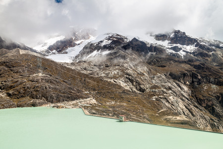 Zongo dam, located in Zongo pass in the altitude of 4700m, Bolivia Stock Photo