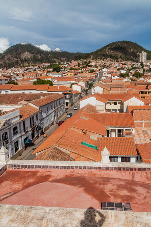 merced: Aerial view of Sucre, capital of Bolivia taken from the roof of Templo Nuestra Senora de la Merced church.
